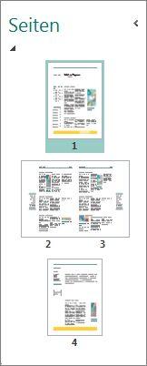 Seitennavigationsbereich mit einzelner Seite und Doppelseite