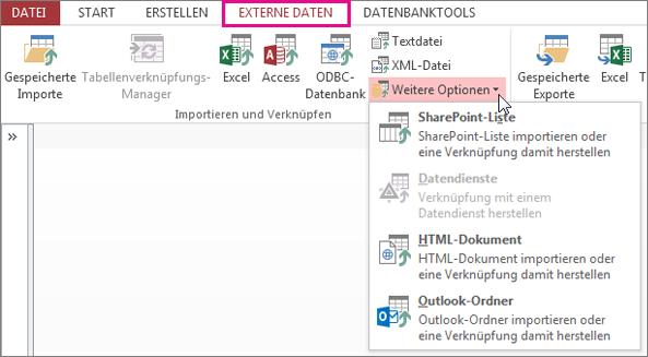 Optionen auf der Registerkarte 'Externe Daten'