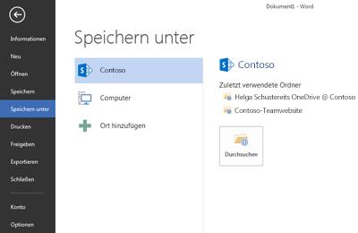 """Bildschirm """"Speichern"""" mit OneDrive for Business und SharePoint-Website unter """"Orte"""""""