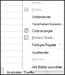 Schützen einer Arbeitsmappe - Excel