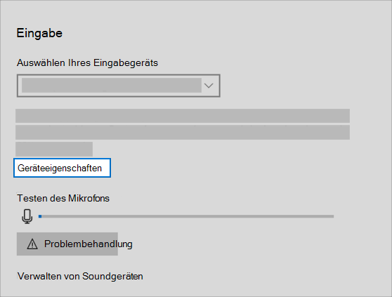"""Link """"Soundeingabe Geräteeigenschaften"""" im Menü """"Sound"""""""