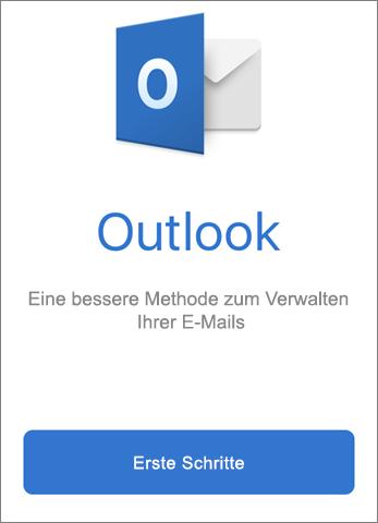 """Screenshot von Outlook mit Schaltfläche """"Erste Schritte"""""""