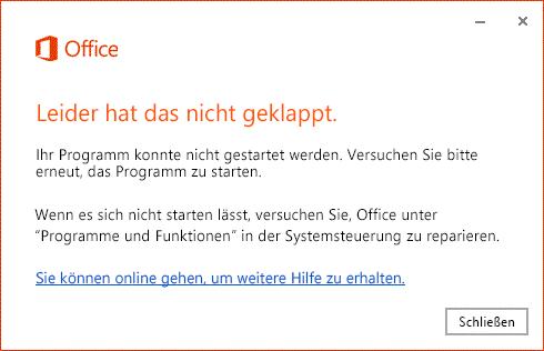 """Fehler """"Das hat leider nicht geklappt"""" beim Öffnen der Office-App"""