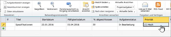 Titel, Datumsangaben und Status der Projektaufgabe eingeben