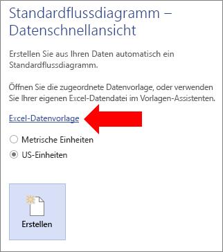 Auswählen des Links zur Excel-Datenvorlage