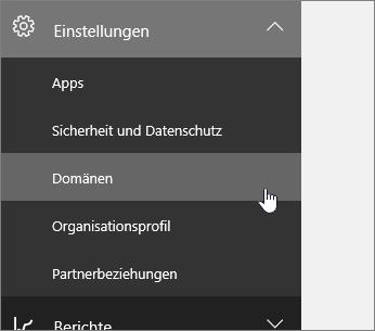 """Im linken Navigationsbereich auf """"Setup"""" und dann auf """"Domänen"""" klicken"""