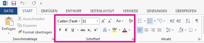 """Die Tools für """"Schriftart"""" befinden sich auf der Registerkarte """"Start""""."""