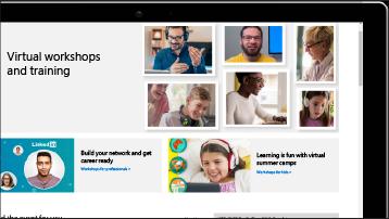 Ein Bildschirm mit Screenshot von virtuellen Workshops und Schulungen