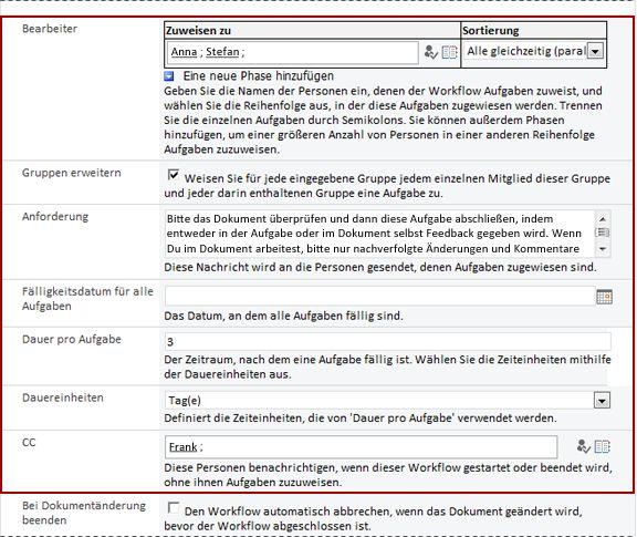 Zweite Seite des Zuordnungsformulars mit Hervorhebung der Felder im Initiierungsformular