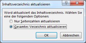 """Dialogfeld """"Inhaltsverzeichnis aktualisieren"""""""
