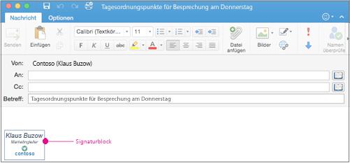 E-Mail-Nachricht mit Signaturblock