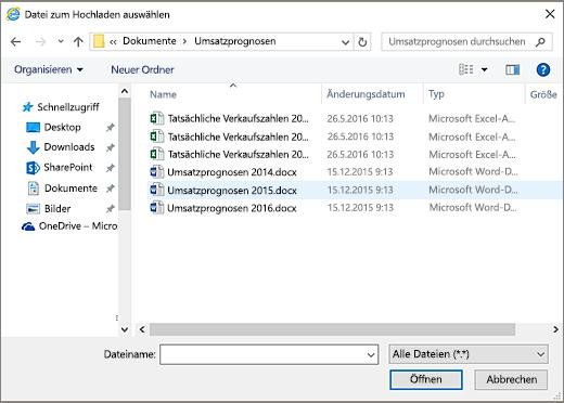 SharePoint-Dialogfeld zum Auswählen einer hochzuladenden Datei