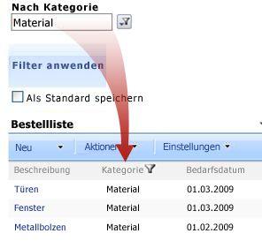 Das Auswahlfilter-Webpart filtert die Bestellliste nach Material.