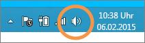 Auf das Windows-Lautsprechersymbol in der Taskleiste achten