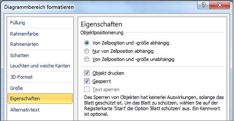 """Registerkarte """"Zelleigenschaften"""" in den Diagrammbereich formatieren"""