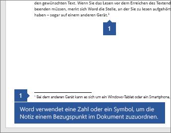 Word verwendet eine Zahl oder ein Symbol, um die Notiz mit einem Bezugspunkt im Dokument zu verknüpfen.
