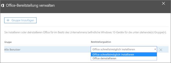 """Wählen Sie im Bereitstellungsbereich """"Office verwalten"""" eine der Optionen """"Office schnellstmöglich installieren"""" oder """"Office deinstallieren"""" aus."""
