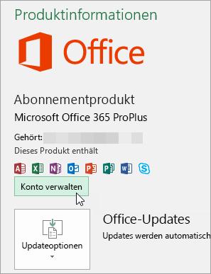 """Screenshot der Auswahl von """"Konto verwalten"""" auf der Seite """"Konto"""" in einer Office-Desktopanwendung"""
