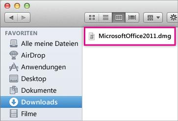"""Wählen Sie die Datei """"MicrosoftOffice2011.dmg"""" aus"""