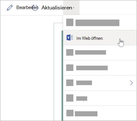 Wählen Sie die Auslassungspunkte (...) aus, um weitere Optionen anzuzeigen, und wählen Sie dann im Web öffnen aus.