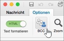 """Suchen Sie auf der Registerkarte Optionen """"Bcc"""""""