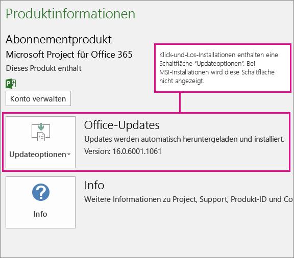"""Bei Klick-und-Los-Installationen finden Sie auf der Seite """"Konto"""" eine Schaltfläche """"Updateoptionen"""". Bei MSI-basierten Installationen wird diese Schaltfläche nicht angezeigt."""