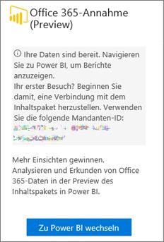 """Auswählen von """"Zu Power BI wechseln"""" auf der Karte """"Office 365-Einführung"""""""