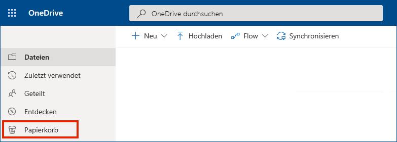 OneDrive for Business Online mit dem Papierkorb im linken Menü