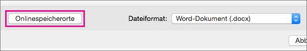 """Klicken Sie auf """"Onlinespeicherorte"""", um Ordner in den Onlinediensten anzuzeigen, bei denen Sie angemeldet sind."""