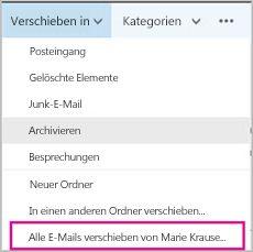 Verschieben aller E-Mails eines bestimmten Absenders