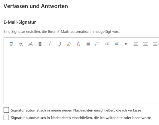Erstellen einer E-Mail-Signatur in Outlook im Web