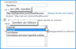 Screenshot des Abschnitts 'Verbindungseinstellungen' der Seite 'Senden-an-Verbindung' im SharePoint Online Admin Center. Hier können Sie die URL für einen Zielspeicherort der Inhaltsorganisation angeben.