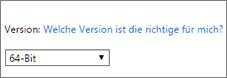 """""""64-Bit"""" in der Dropdownliste """"Version"""" auswählen"""