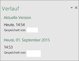 """Bereich """"Verlauf"""" in Excel 2016 für Windows"""