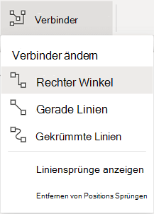 """Die Registerkarte """"Shapes"""" auf dem Menüband verfügt über ein Optionsmenü """"Verbinder""""."""