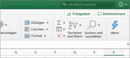 """Schaltfläche """"suchen und auswählen"""" auf der Registerkarte """"Start"""""""