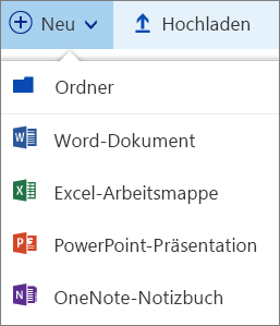 Neues Menü in OneDrive