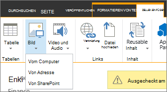 """Schaltfläche """"Bild einfügen"""" mit der darunter angezeigtem Menü für Datenquellenoptionen."""