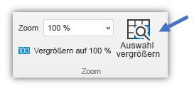 """Screenshot der Schaltfläche """"Auf Auswahl zoomen"""" auf der Registerkarte """"Start"""" auf dem Menüband."""