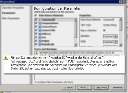 Screenshot 2 des Dialogfelds 'Alle Vorgänge' in SharePoint Designer. Auf dieser Seite werden Warnungen angezeigt, die Einstellungen für Haupteinstellungen in der Liste erläutern.