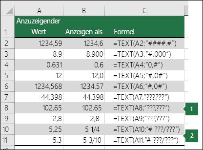"""Beispiele für Formatzeichenfolgen für Zahlen des Typs """"Standard"""", """"Dezimal"""" und """"Bruch""""."""