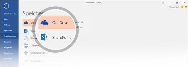OneDrive- und SharePoint-Speicherorte für das Speichern des Dokuments sind hervorgehoben.
