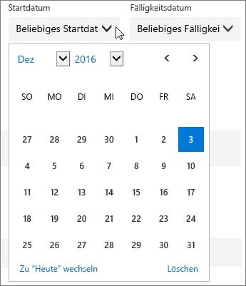 """Screenshot des erweiterten Menüs """"Startdatum"""" für eine Planner-Aufgabe"""