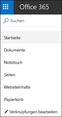 Teamwebsite, linke Navigation