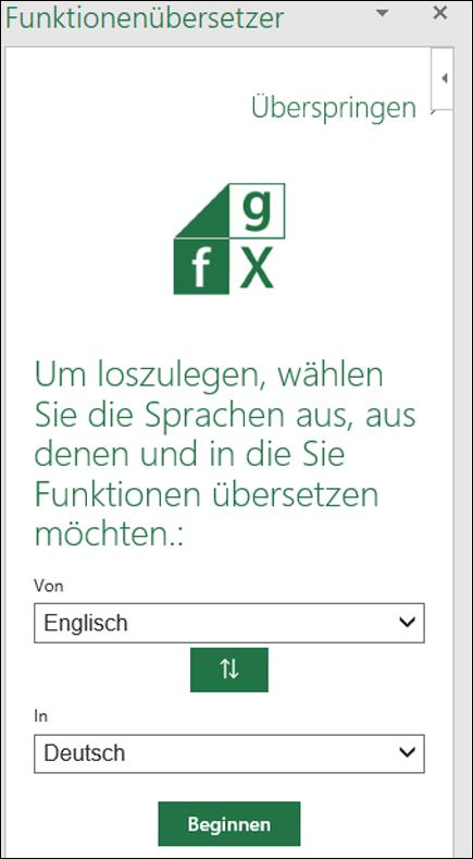 """Bereich """"Spracheinstellungen"""" des Funktionenübersetzers"""