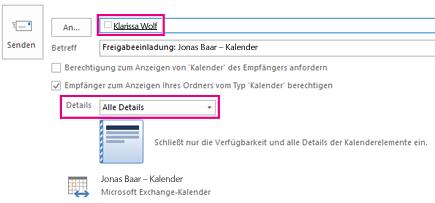 Einladung zur Freigabe der internen Postfach-E-Mail – Feld 'An' und Einstellung 'Details'