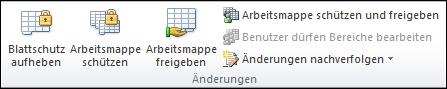 """Die Gruppe """"Änderungen"""" auf der Registerkarte """"Überprüfen"""""""