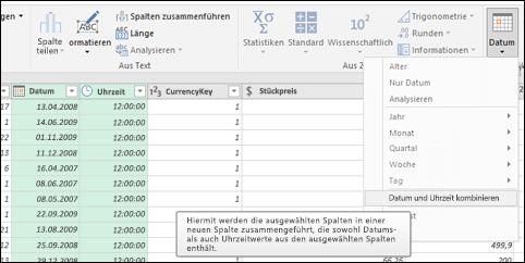 Power Query – Zusammenführen von Datumswerten und Uhrzeiten in einer Date/Time-Spalte im Abfrage-Editor