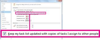Kontrollkästchen 'Meine Aufgabenliste mit Kopien von Aufgaben, die ich anderen Personen zuweise, aktualisieren'