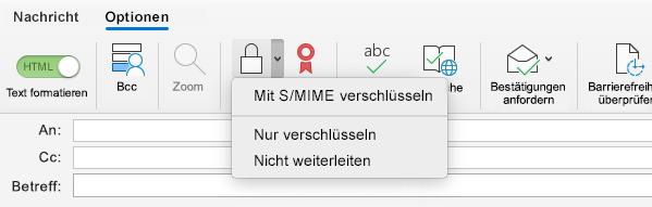 Mit S/MIME-Option verSchlüsseln